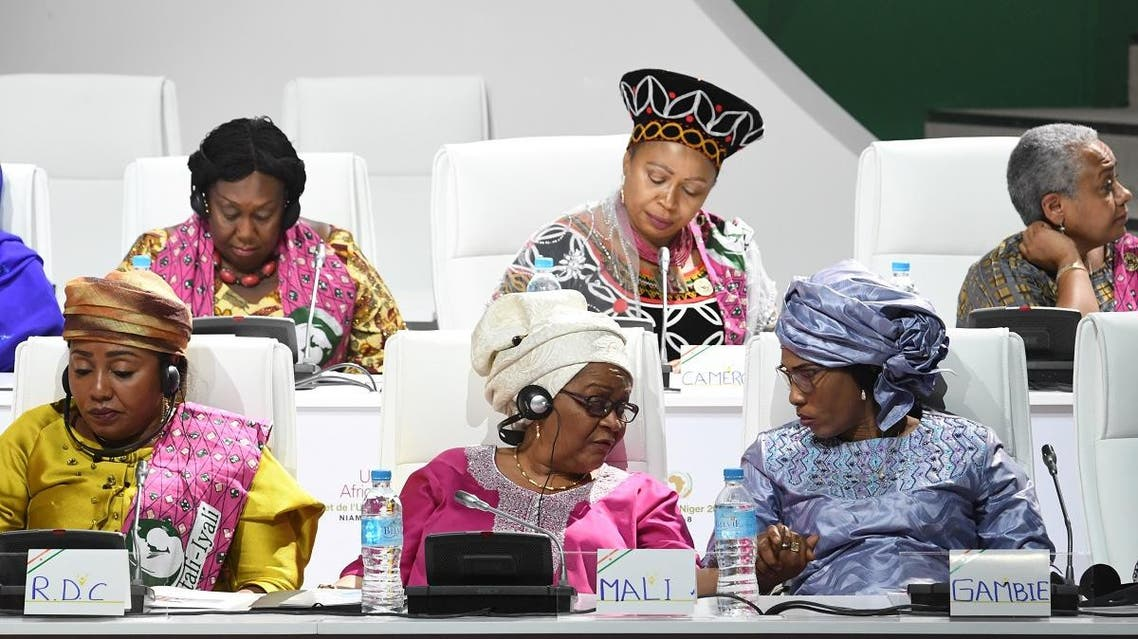 First ladies of Democratic Republic of Congo Denise Nyakeru Tshisekedi (L), Aminata Keita of Mali (C) and Fatoumata Ba Barrow of Gambia (R) attend a meeting at the palais des Congres in Niamey, on July 6, 2019, on the sidelines of the African Union summit. (AFP)