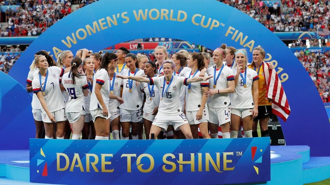 Megan Rapinoe of the US and team mates celebrate winning the women's world cup. (Reuters)