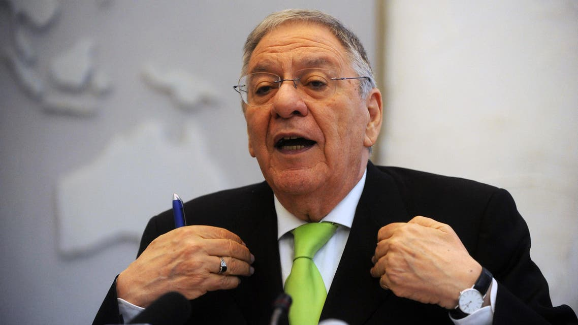 Djamel Ould Abbes, the Algerian Minister of Health, Population and Hospital Reform speaks during a press conference in Algiers on April 2, 2012.
