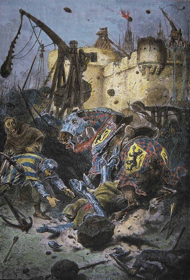 رسم تخيلي يجسد التأثير المدمر للمقذاف خلال العصور الوسطى