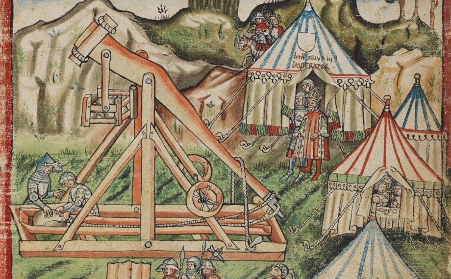 رسم تخيلي للمقذاف خلال العصور الوسطى