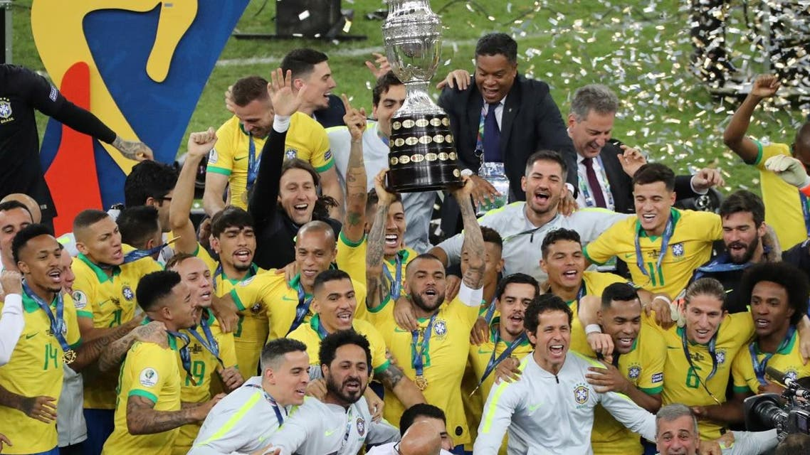 Brazil players celebrate winning the Copa America with the trophy beating Peru in the final at Maracana Stadium, Rio de Janeiro, Brazil, on July 7, 2019. (Reuters)