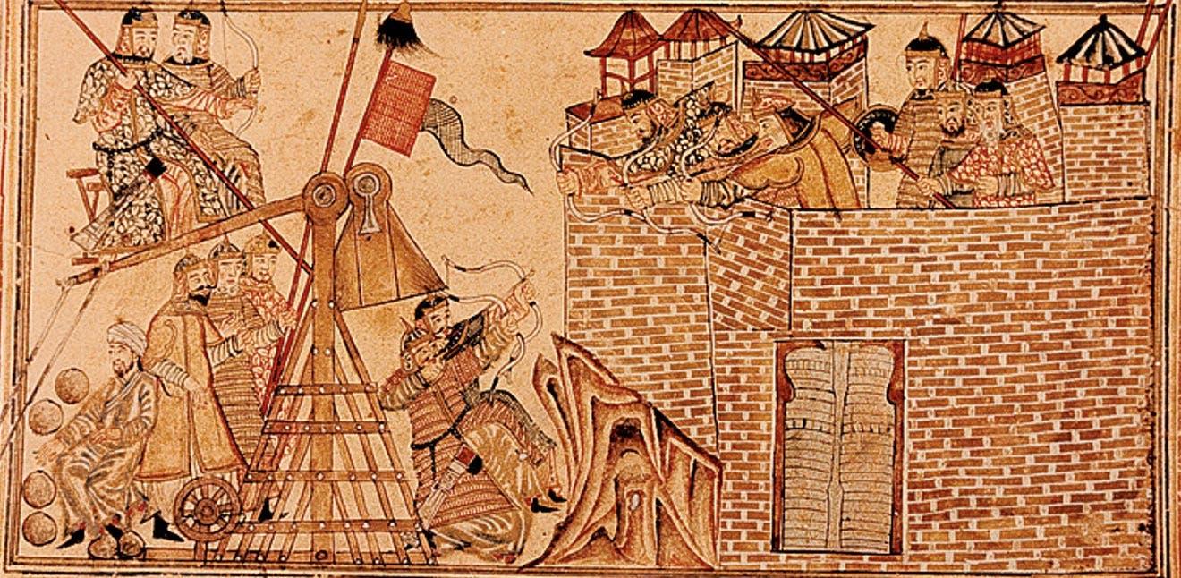 رسم تخيلي يجسد استخدام المغول للمقذاف خلال العصور الوسطى