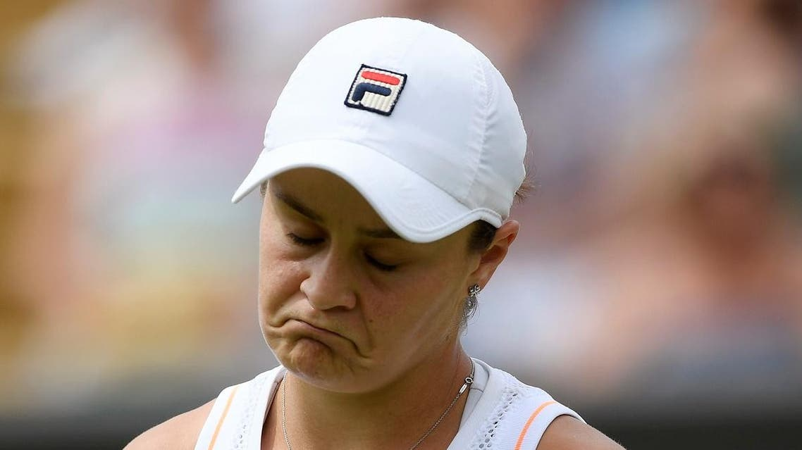 Australia's Ashleigh Barty reacts during her fourth round match against Alison Riske of the US. (Reuters)