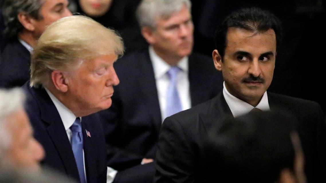 Qatar's Emir Sheikh Tamim bin Hamad Al-Thani attends a dinner with U.S. President Donald Trump at the Department of the Treasury in Washington D.C., U.S., July 8, 2019. REUTERS/Carlos Barria