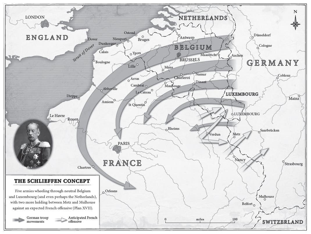 رسم توضيحي لبرنامج اخضاع فرنسا ضمن خطة شليفن