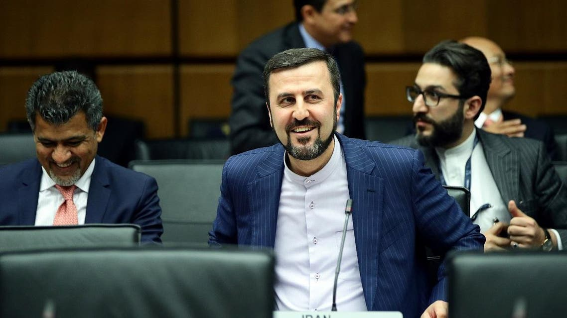 Iran's ambassador to the International Atomic Energy Agency (IAEA) Kazem Gharib Abadi waits for the start of a board of governors meeting at the IAEA headquarters in Vienna, Austria, on July 10, 2019. (Reuters)