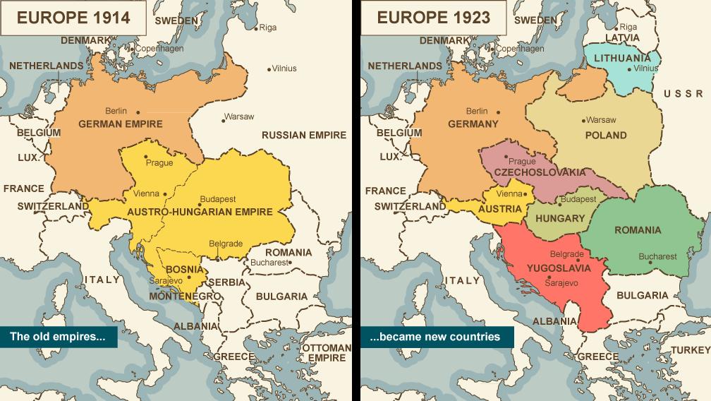 خريطة ألمانيا قبل وبعد الحرب العالمية الأولى