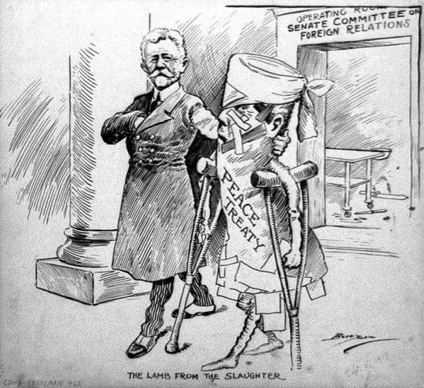 كاريكاتير ساخر حول معاهدة فرساي