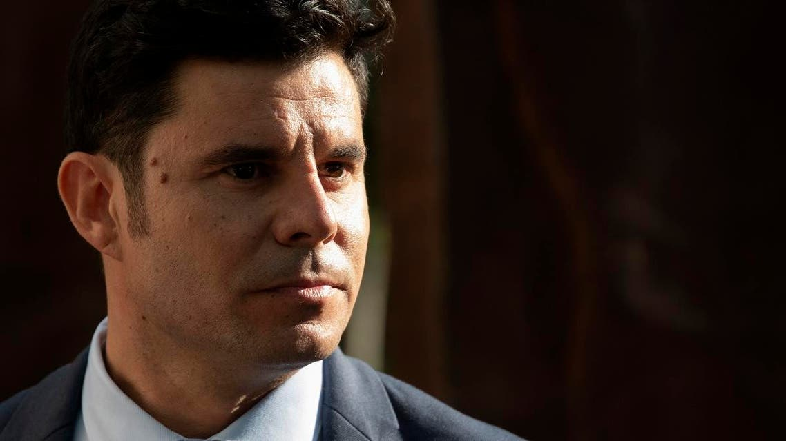 n this file photo taken on May 30, 2019 Javier Sanchez Santos, who claims to be the son of Spanish crooner Julio Iglesias, stands outside the court of Valencia before a hearing to examine his paternity claim. A Spanish court ruled on July 10, 2019. (AFP)
