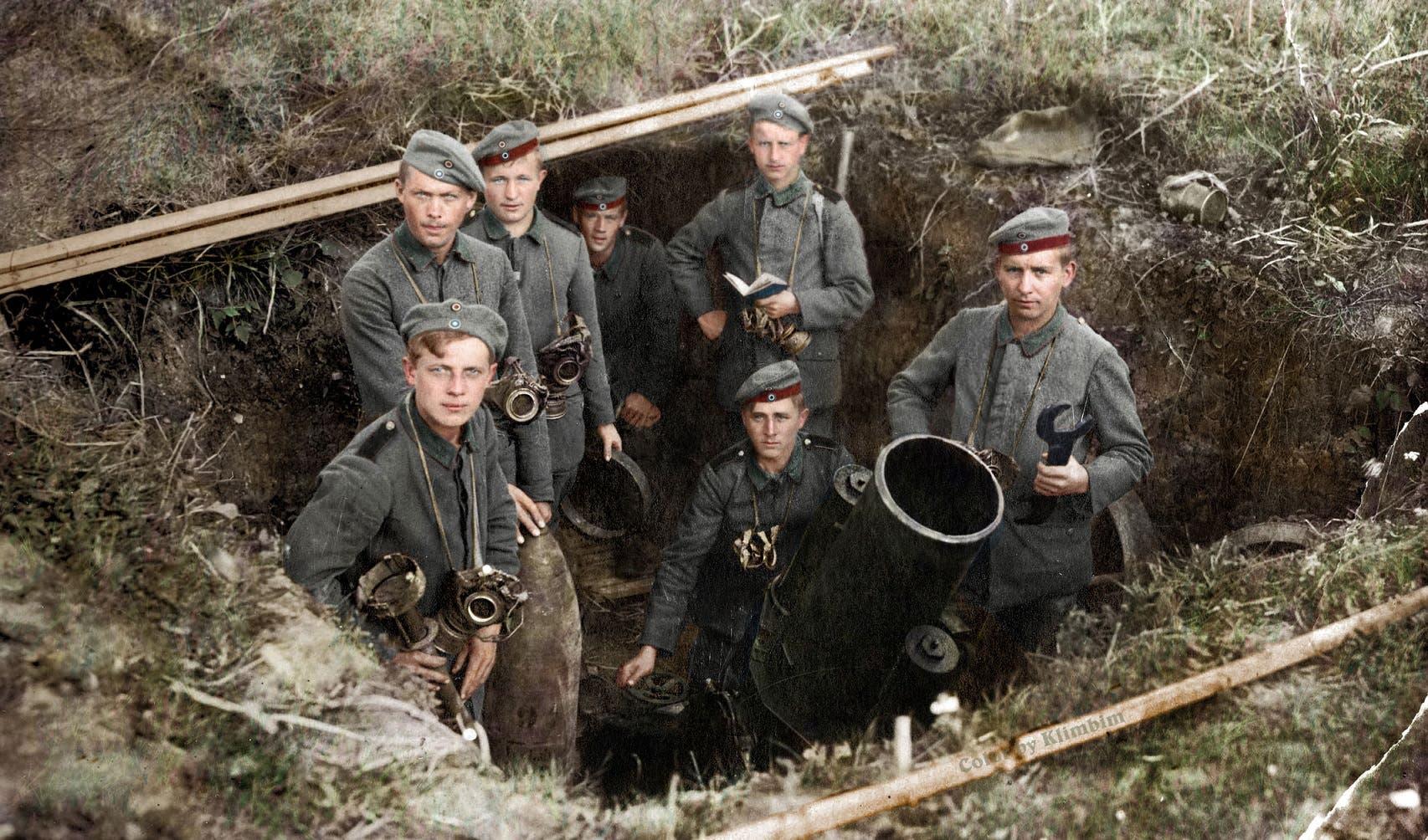 صورة ملونة اعتمادا على التقنيات الحديثة لجنود ألمان خلال الحرب العالمية الأولى