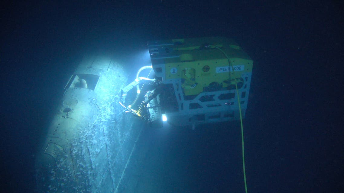 Remotely operated vehicle called Aegir 6000 examines the wreck of the Soviet nuclear submarine Komsomolets, southwest of Bear Island in the Norwegian Arctic, Norway in this handout image released on July 10, 2019. Norwegian Institute of Marine Research/HI/Handout via REUTERS ATTENTION EDITORS - THIS IMAGE HAS BEEN SUPPLIED BY A THIRD PARTY. NO RESALES. NO ARCHIVES.