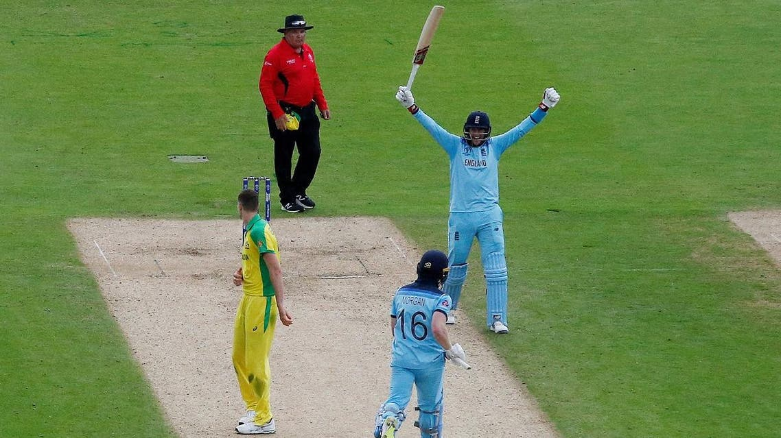 England's Eoin Morgan and Joe Root celebrate after the ICC Cricket World Cup Semi Final which they won against Australia at Edgbaston, Birmingham, Britain, on July 11, 2019. (Reuters)