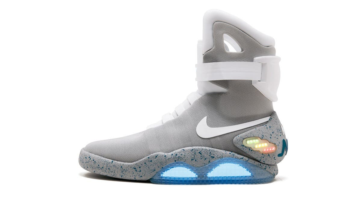 "The Nike Mags sneaker, the design worn by Marty McFly character in ""Back to the Future Part II"" film and one of only 1,500 pairs made. (Reuters)"