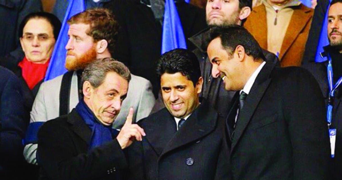 ساركوزي مع تميم بن حمد والخليفي في مدرجات باريس سان جيرمان