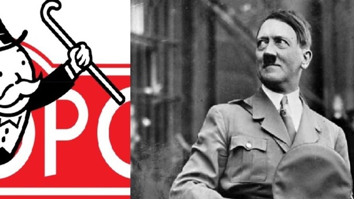 رسم تخيلي يبرز شخصية أدولف هتلر إلى جوار شعار المونوبولي