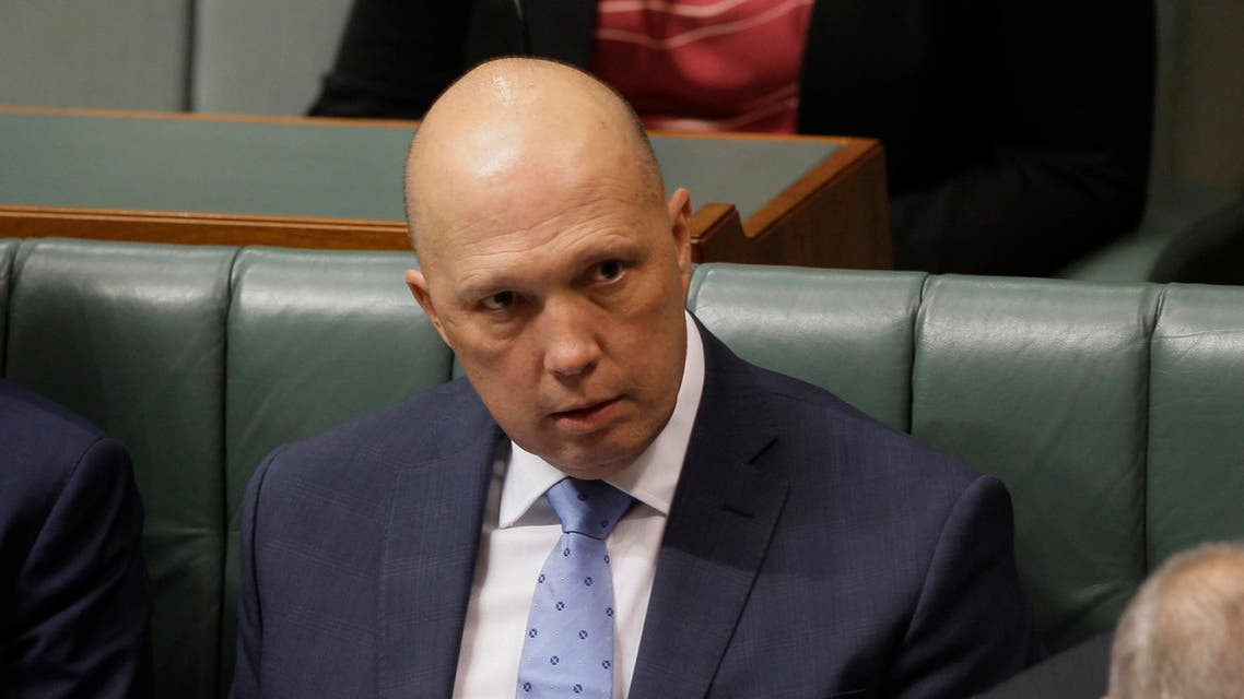 Home Affairs Minister Peter Dutton sits in Parliament in Canberra on Thursday, July 4, 2019. (AP)