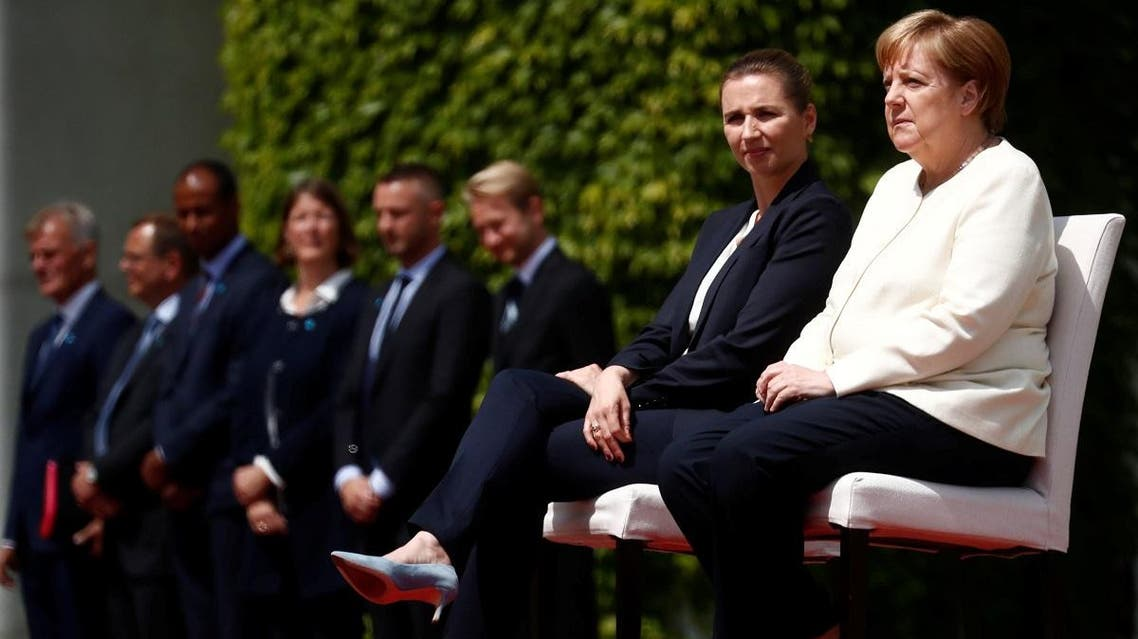 German Chancellor Angela Merkel receives Denmark's Prime Minister Mette Frederiksen with military honors at the Chancellery in Berlin, Germany, on July 11, 2019. (Reuters)