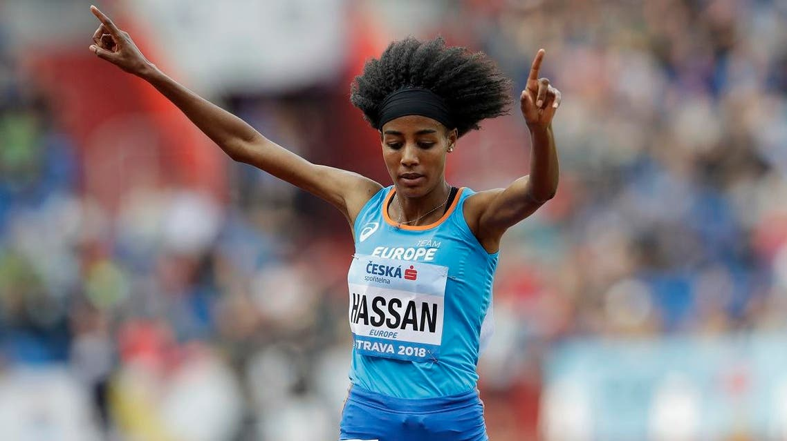 Sifan Hassan of The Netherlands celebrates as she crosses the finish line to win the women's 3,000 meters for Europe at the IAAF track and field Continental Cup in Ostrava, Czech Republic. (File photo: AP )