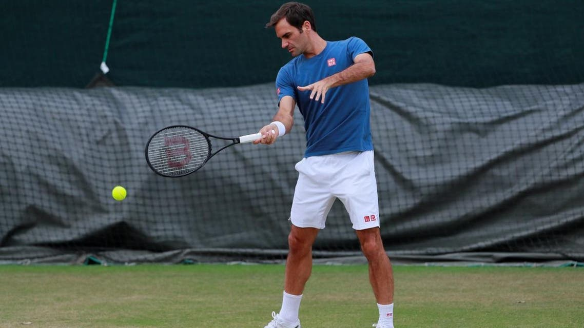 Roger Federer during practice  for the Wimbledon final  at the All England Lawn Tennis and Croquet Club, London, on July 13, 2019. (Reuters)