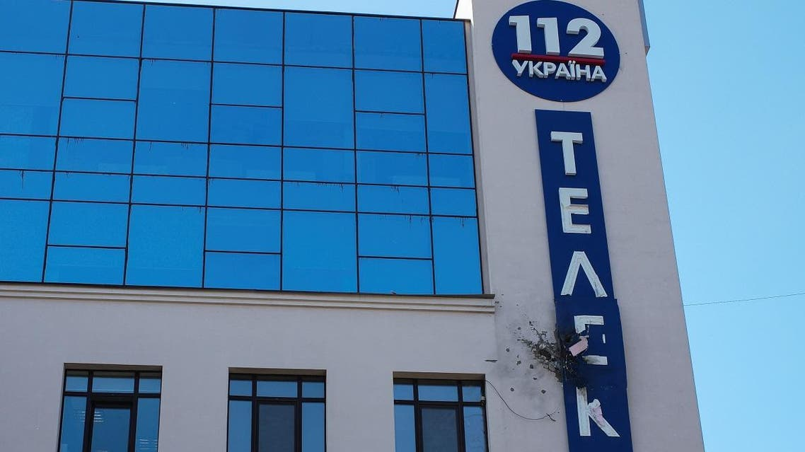 Damage is seen on the facade of the building of Ukrainian 112 TV channel in Kiev. (Reuters)