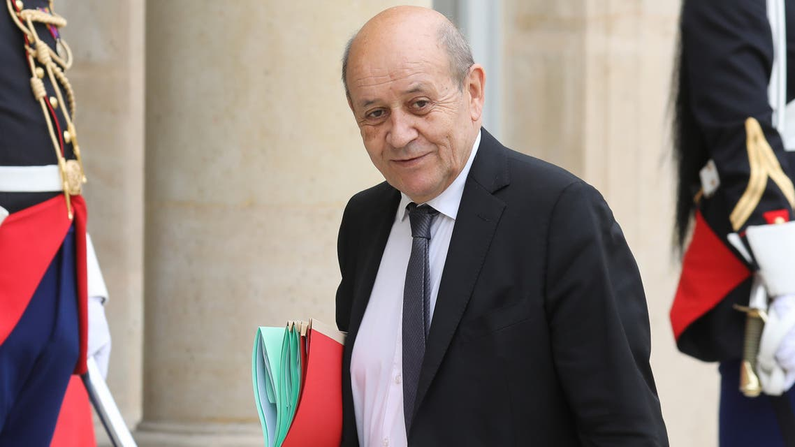 FILE PHOTO: French Foreign Minister Jean-Yves Le Drian attends a working session during the Foreign ministers of G7 nations meeting in Dinard, France, April 6, 2019. REUTERS/Stephane Mahe/File Photo