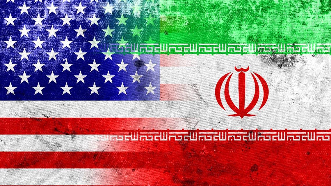 Grunge Iran and USA Flag stock photo