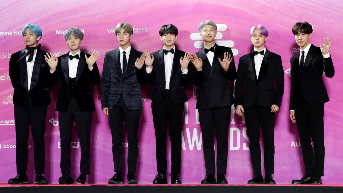Members of South Korean K-Pop group BTS pose for photos on the red carpet at the Seoul Music Awards at Gocheok Sky Dome in Seoul, South Korea, Tuesday, Jan. 15, 2019. (AP)