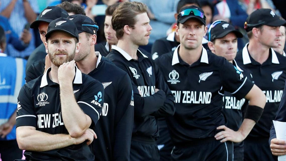 New Zealand's Kane Williamson and teammates looks dejected as they await their runners up medals after they lost the ICC Cricket World Cup Final to England at the Lord's, London, on July 14, 2019.  (Reuters)