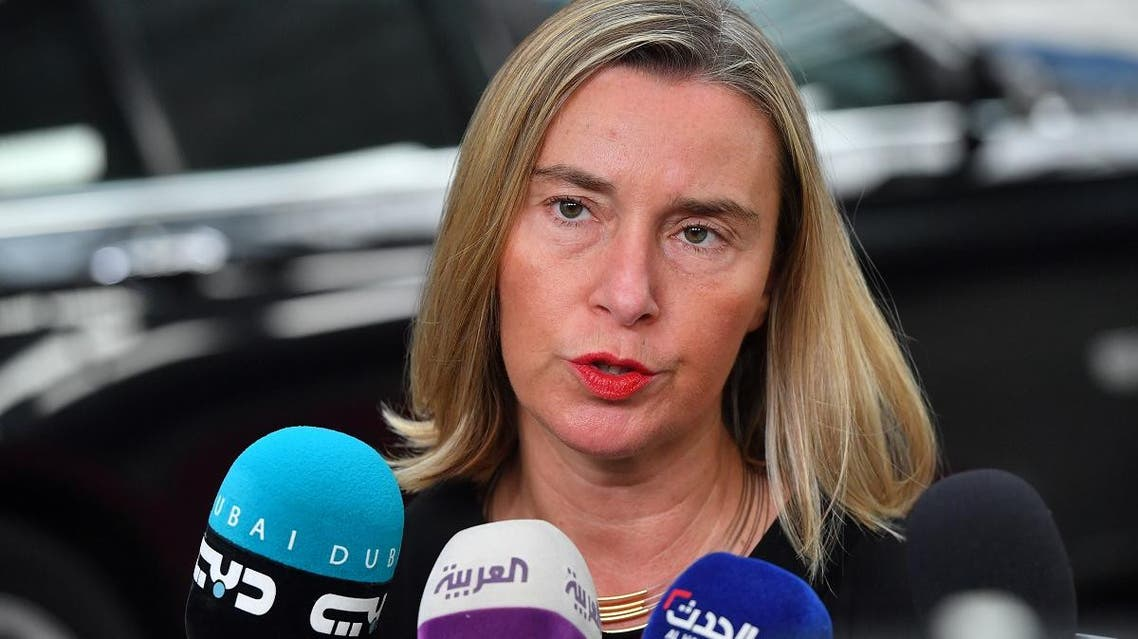 European Union for Foreign Affairs and Security Policy Federica Mogherini answers journalists' questions during a Foreign Affairs meeting at the EU headquarters in Brussels on July 15, 2019. (AFP)