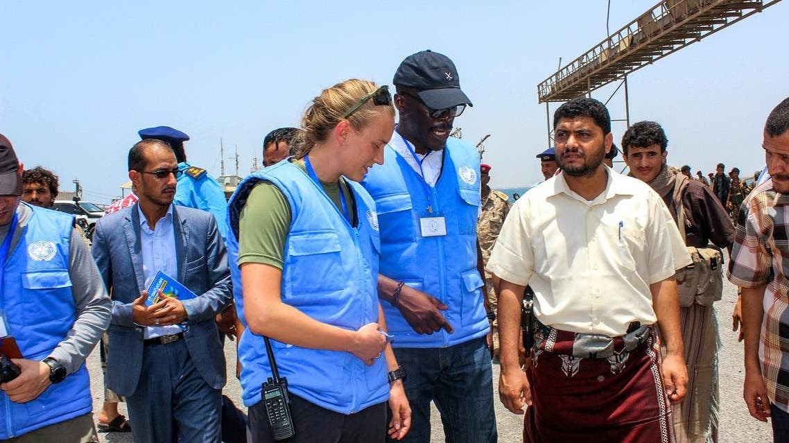 Members of the United Nations observer mission meet during the Yemeni Houthi militia withdrawal from Saleef port in the western Red Sea Hodeidah province, on May 11, 2019. (File photo: AFP)
