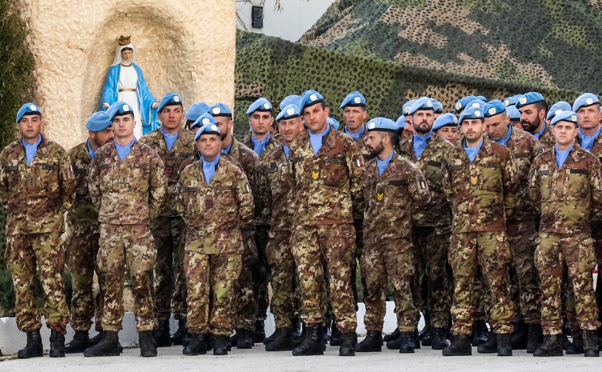 Italian members of (UNIFIL) stand on guard at the mission headquarters in south Lebanon. (File Photo: AFP)