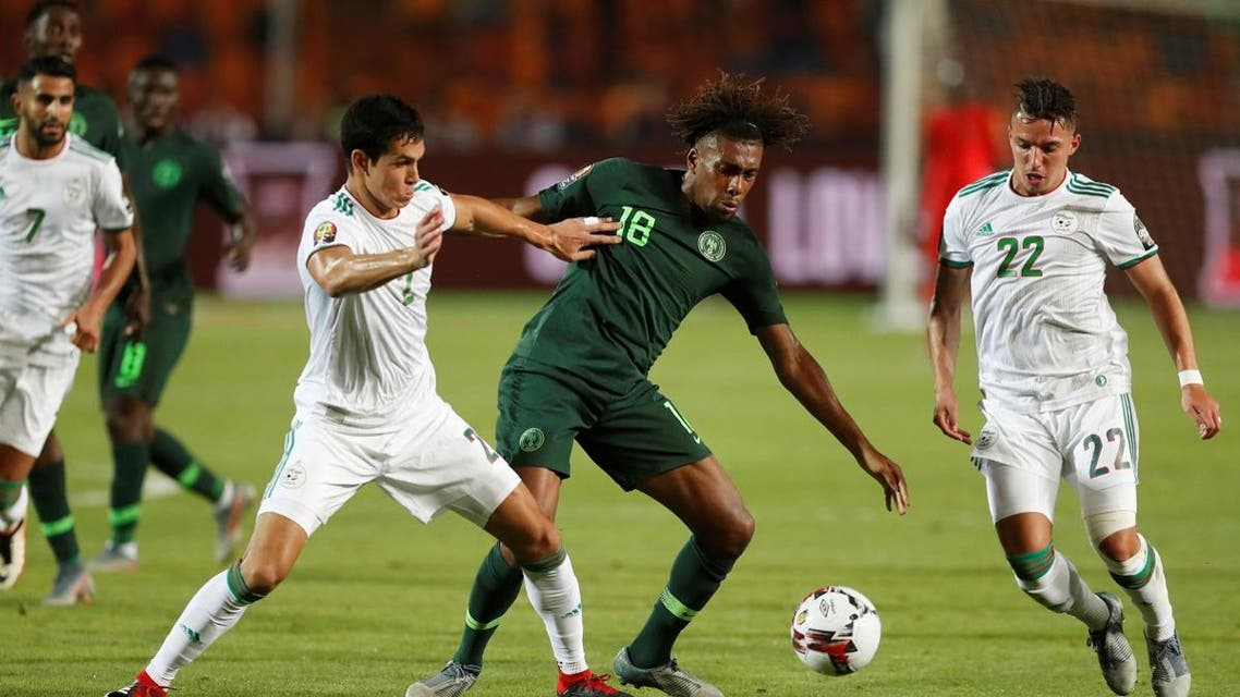 Nigeria's Alex Iwobi in action with Algeria's Aissa Mandi in the Africa Cup of Nations 2019 semi final at the Cairo International Stadium on July 14, 2019. (Reuters)