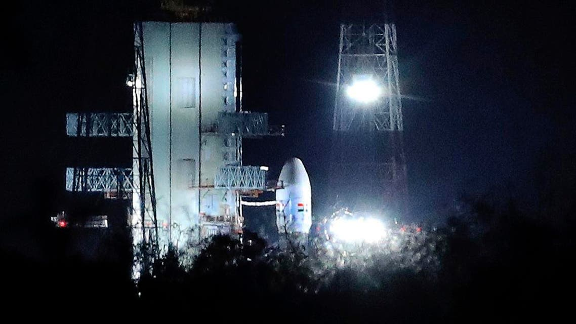 Indian Space Research Organization (ISRO)'s Geosynchronous Satellite launch Vehicle (GSLV) MkIII carrying Chandrayaan-2 stands at Satish Dhawan Space Center after the mission was aborted at the last minute at Sriharikota, in southern India, on July 15, 2019. (AP)