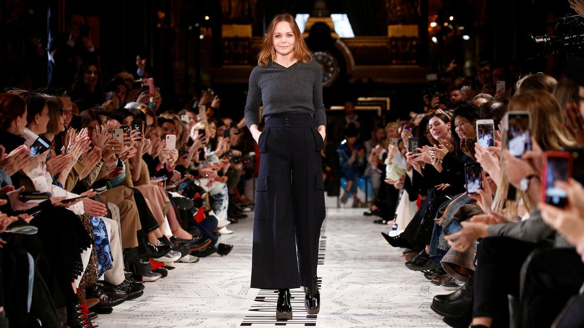FILE PHOTO: British designer Stella McCartney appears at the end of her Fall/Winter 2019-2020 women's ready-to-wear collection show during Paris Fashion Week in Paris, France, March 4, 2019. REUTERS/Stephane Mahe/File Photo