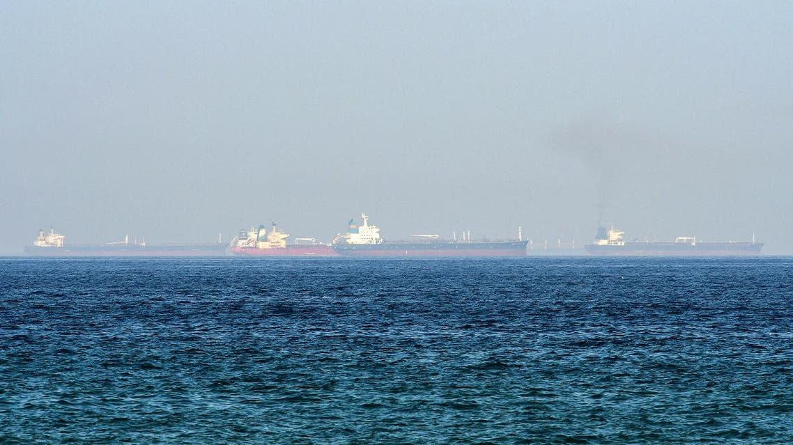 This picture taken on June 15, 2019 shows tanker ships in the waters of the Gulf of Oman off the coast of the eastern UAE emirate of Fujairah. GIUSEPPE CACACE / AFP