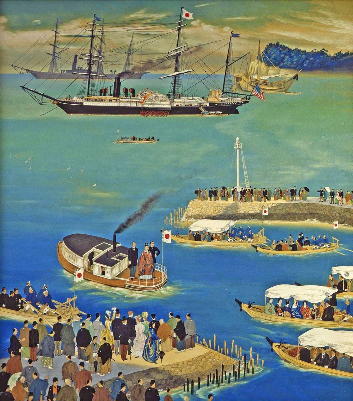 لوحة تخيلية تجسد انطلاق بعثة إيواكورا نحو أوروبا وأميركا