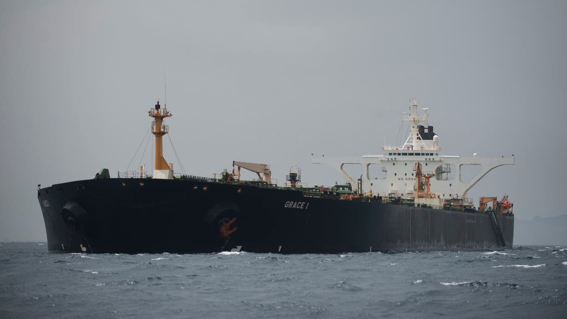 (FILES) In this file photo taken on July 06, 2019 A picture shows supertanker Grace 1 off the coast of Gibraltar on July 6, 2019. Gibraltar police have arrested two more officers of a seized Iranian tanker suspected of breaching EU sanctions by shipping oil to Syria, the Royal Gibraltar Police said on July 12, 2019.