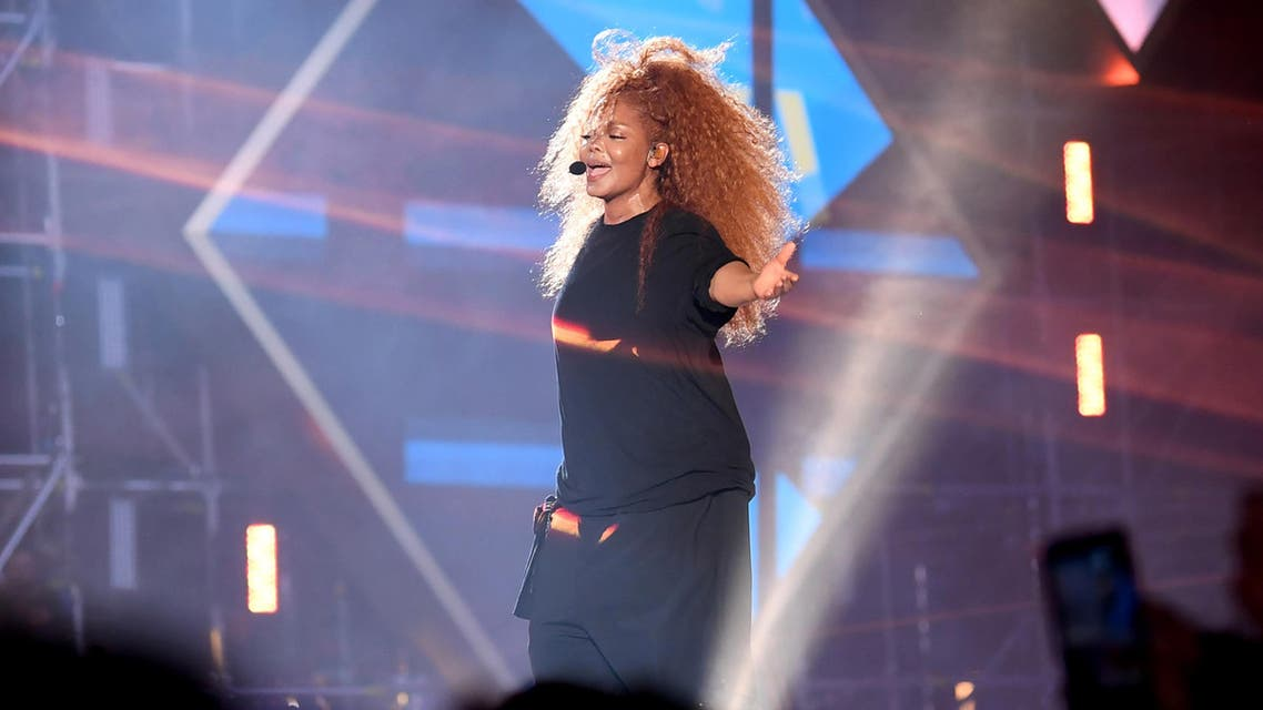 US singer Janet Jackson performs on stage during the Jeddah World music Festival on July 18, 2019, at the King Abdullah Sports City in the coastal city of Jeddah. (AFP)