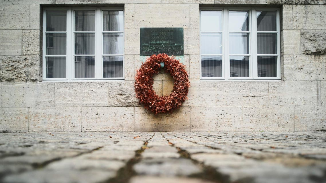 A wreath fixed under a remembrance plaque marking the place where several leaders of the failed plot to assassinate Adolf Hitler on July 20, 1944 were shot dead. (AP)