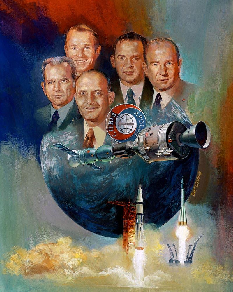 لوحة تجسد مشروع أبولو سيوز التجريبي لعام 1975