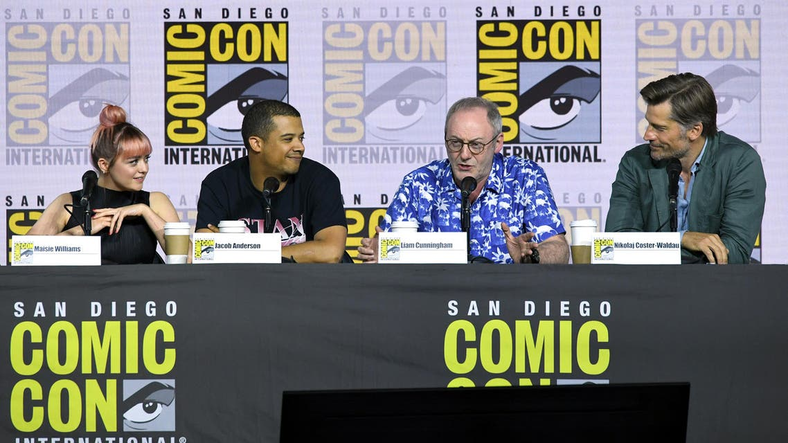 """Maisie Williams, Jacob Anderson, Liam Cunningham, and Nikolaj Coster-Waldau speak at the """"Game Of Thrones"""" Panel And Q&A during 2019 Comic-Con International at San Diego Convention Center (AFP)"""