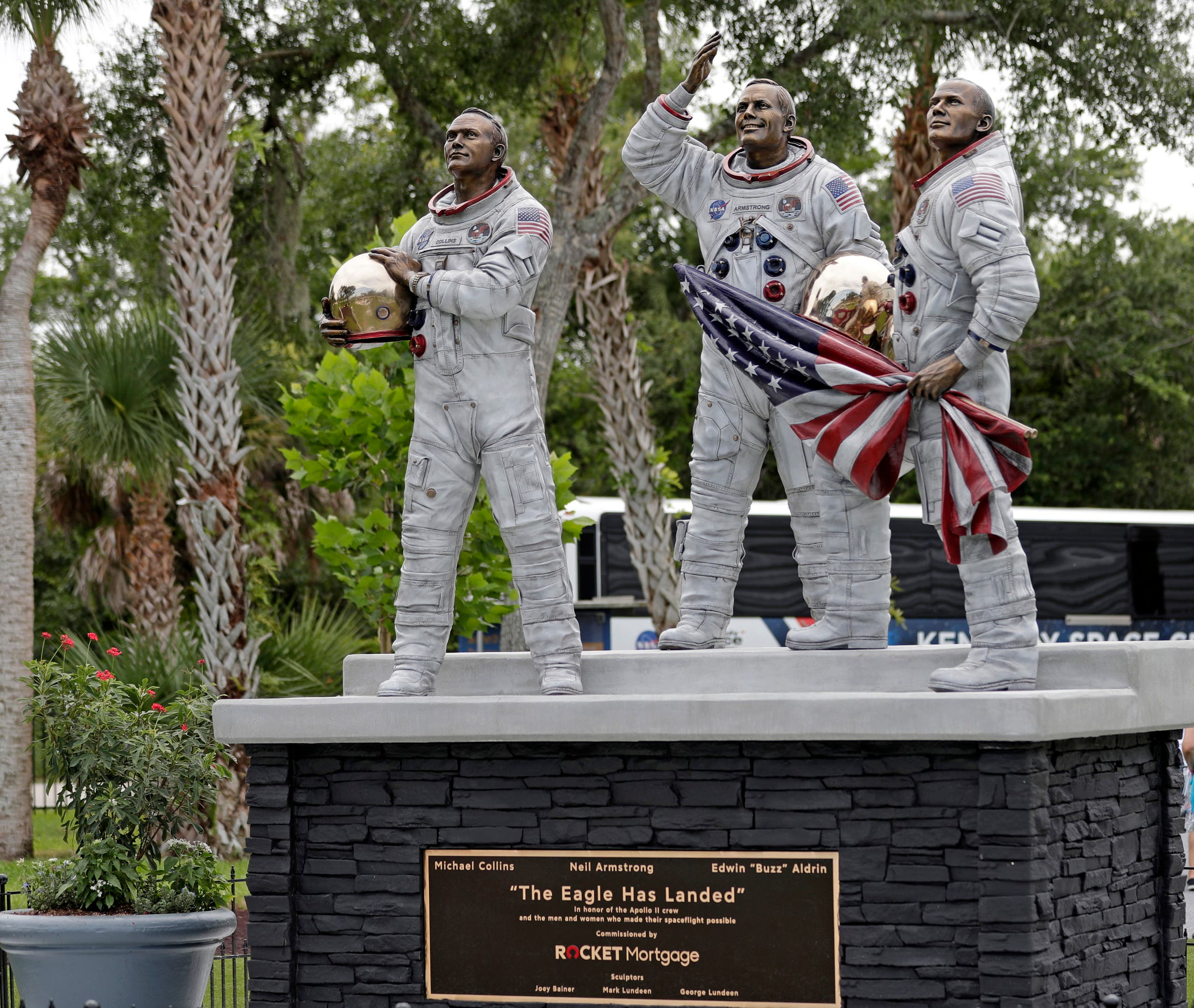 The new Apollo 11 statue of the astronauts Michael Collins, Neil Armstrong and Buzz Aldrin is seen at the Kennedy Space Center Visitor Complex. (AP)
