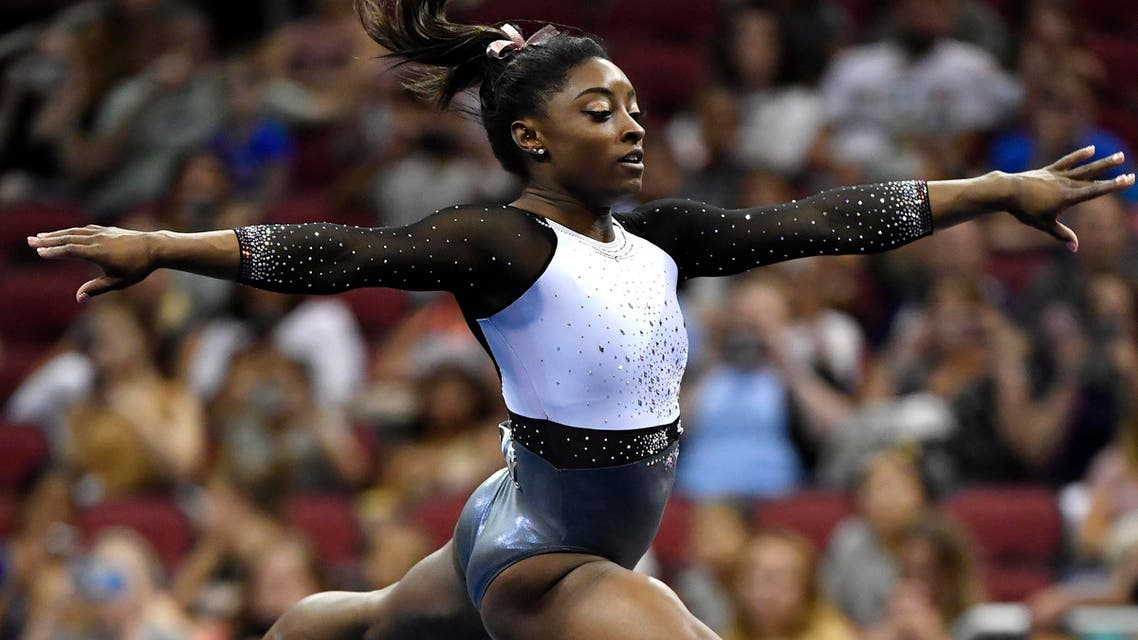 Simone Biles performs her floor routine during the GK US Classic gymnastics meet in Louisville, Ky., Saturday, July 20, 2019. (AP)