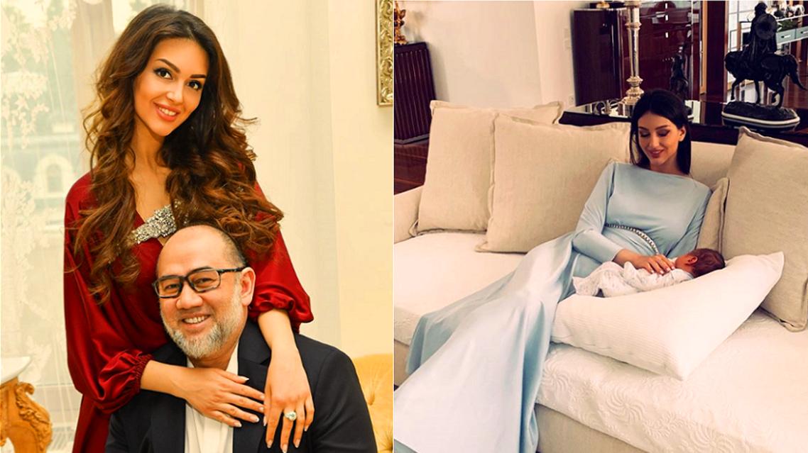 مع زوجها السلطان السابق، وطفلها الوليد