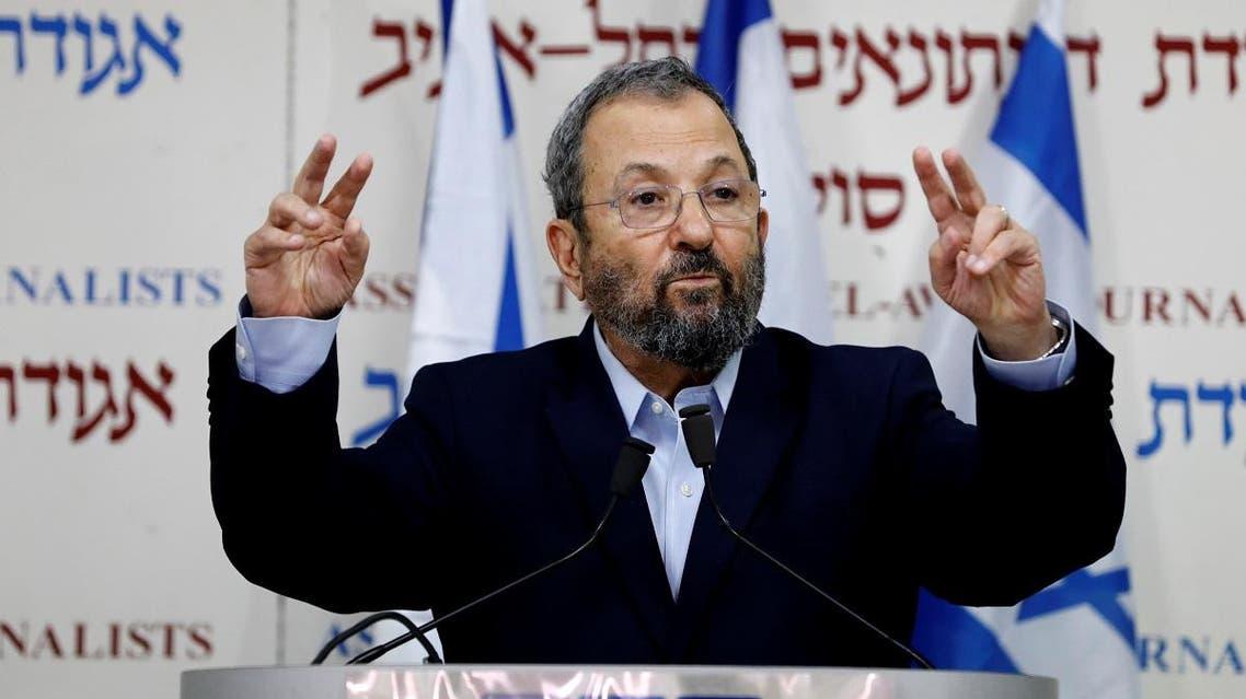 Former Israeli Prime Minister Ehud Barak delivers a statement in Tel Aviv. (AFP)