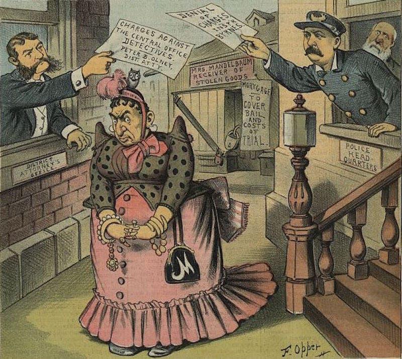 رسم كاريكاتيري ساخر يجسد حصول فريدريكا ماندلبوم على ثروة طائلة وسط غياب للأمن