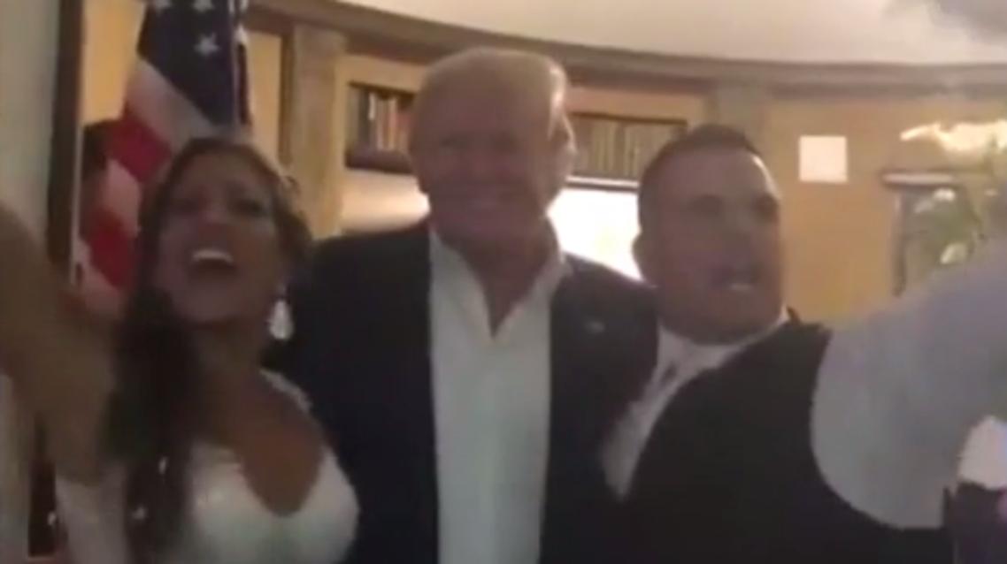 Trump crashes wedding - screengrab