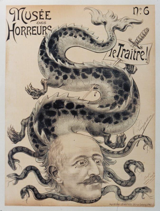 كاريكاتير فرنسي حول ألفرد دريفوس المتهم بالخيانة