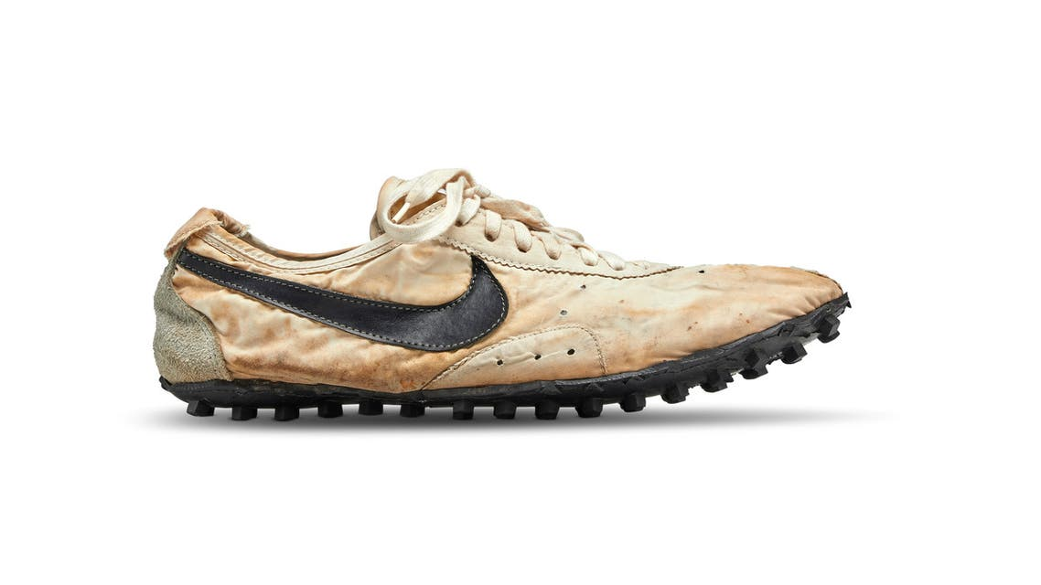 The Nike Moon Shoe one of only about 12 pairs of the handmade running shoe designed by Nike co-founder and legendary Oregon University track coach Bill Bowerman, is seen in this Sotheby's image released on July 11, 2019. Courtesy Sotheby's/Handout via REUTERS ATTENTION EDITORS - THIS IMAGE HAS BEEN SUPPLIED BY A THIRD PARTY. NO RESALES. NO ARCHIVES.